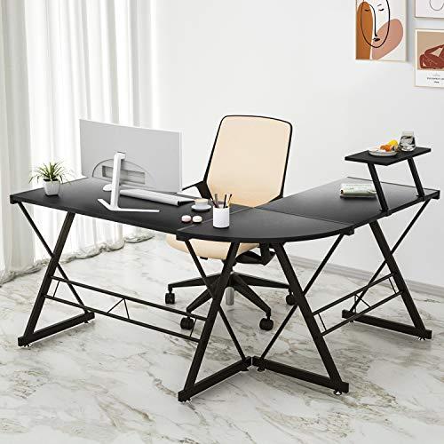 Maxzzz - Escritorio esquinero en forma de L, mesa informativa robusta de madera, montaje simple con estante de pantalla ajustable extraíble, ideal para colegios, oficina en casa