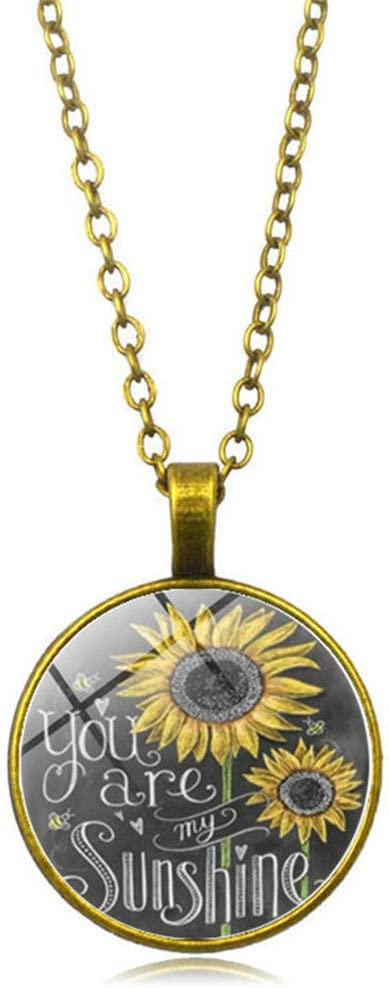 Timesuper Sunflower Locket Necklace Vintage Sunflower You are My Sunshine Glass Pendant Chain Necklace Jewelry,Bronze