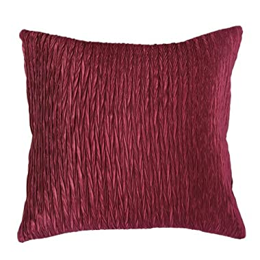 Rizzy Home T06815 Gather Details on Both Sides Decorative Pillow, 18 by 18-Inch, Maroon