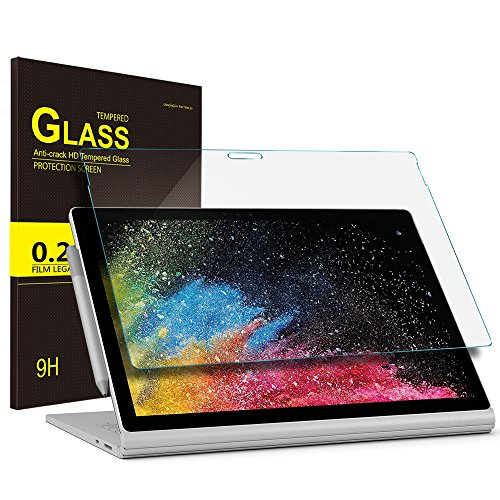 ELTD Schutzfolie für Surface Book 2 13.5, abgerundeten Ecken 2.5D, 9H Härte, Klar Anti-Kratz Glas Folie Panzerfolie Displayschutzfolie Folie für Microsoft Surface Book 2 13.5 Zoll [2 Stück]