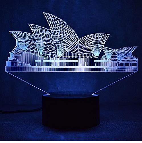Creatieve 3D Led Visual Sydney Kleurrijke lamp USB tafellamp slapen nachtlicht Lampara nieuwigheid Mode Oper Lampara App mobiele telefoon Bluetooth afstandsbediening kleur oogbescherming Energiebesparende tafellamp