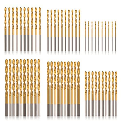 COMOWARE Titanium Drill Bit Set - 60 Pcs Small Drill Bit Set, High Speed Steel, Micro Drill Bit for Wood, Plastic, Aluminum Alloy, (3/64