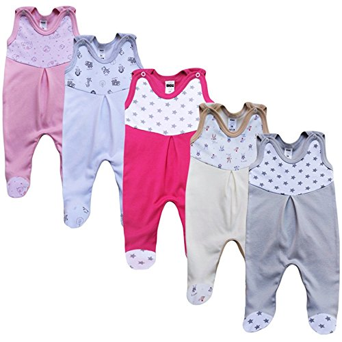 MEA BABY MEA BABY Unisex Strampler mit Aufdruck, Baumwolle, 5er Pack. Baby Strampler Mädchen Baby Strampler Junge (74, Mädchen)