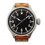 Jenova 1940 B-Uhr 47 Pilot Automatico Swiss Made Acero Negro Cuero Reloj Vintage Hombre