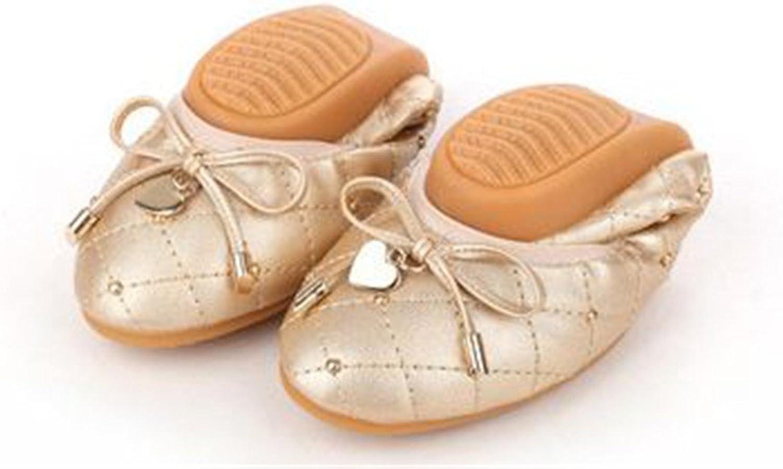 BeautyOriginal Womens Foldable Soft Round Toe Ballet Flats Bow Heart Comfort Slip on Flat shoes