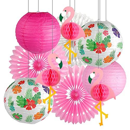 Decoración de fiesta de flamenco, farolillos de papel, suministros de fiesta hawaianos, hojas tropicales, colgando flamenco, panal de abejas, papel de seda para verano, playa, Luau decoración