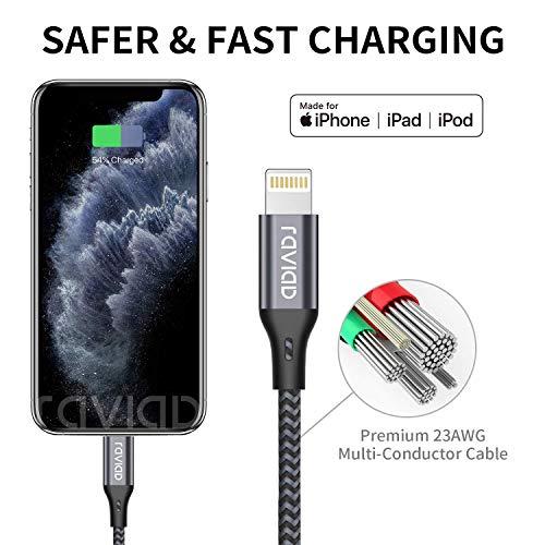 RAVIAD iPhone Ladekabel, Lightning Kabel 3-Pack 1.8M Nylon iPhone Kabel USB Ladekabel für iPhone 11, XS, XS Max, XR, X, 8, 8 Plus, 7, 7 Plus, 6s, 6s Plus, 6, 6 Plus, SE, 5s, 5c, 5, iPad Mini/Air/Pro