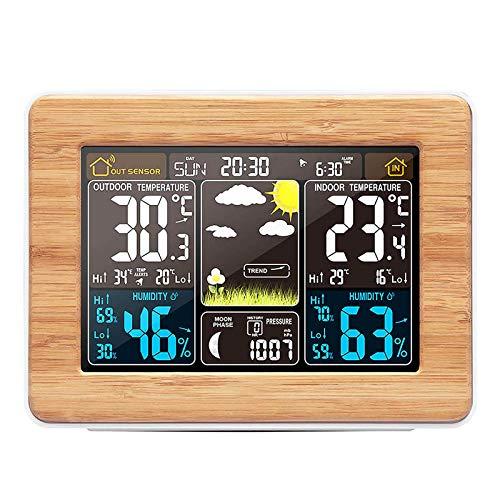Konesky Stazione Meteo Wireless, barometro termometro Temperatura Digitale Interna umidità Esterna Temperatura con sensore Esterno Sveglia con Pressione barometrica (Upgrade A)