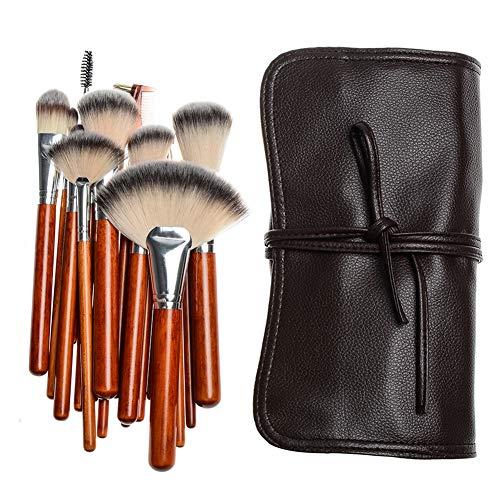 Maquillage Multifonctionnel Brush Set 18 Pcs Maquilleur Outils Professionnels Beauté Du Visage Poignée En Bois Sac De Maquillage Brosse PU,1