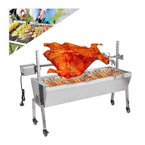 20W BBQ Rotisserie Grill, Outdoor Garden Party Large Roaster Fire Pit, 88 Lbs Bearing Lamb Spit Roaster Machine BBQ Picnic Camping Spit Roaster Trotter Roast Charcoal Pig Chicken