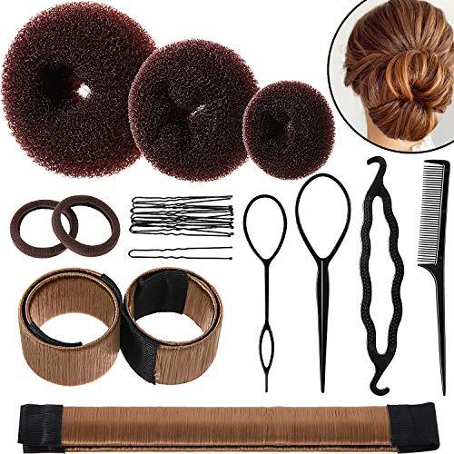 Hair Bun Shaper Set, Include 3 Pieces Hair Bun Donut, 2 Pieces Bun Marker, 4 Pieces Ponytail Hair Tool, 10 Pieces Bobby Pins and 2 Pieces Elastic Bands for Women Kids Hair Bun Maker Kit (Brown)