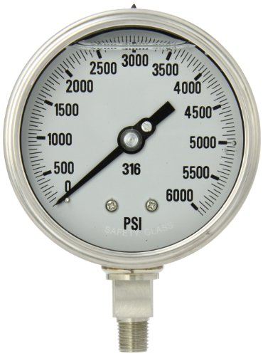 "PIC Gauge 4001-4LS-GF 4"" Dial, 0/6000 psi Range, 1/4"" Male NPT Connection Size, Bottom Mount Glycerine Filled Process Pressure Gauge with a Stainless Steel Case and Internals, Removable Stainless Steel Bezel, and Laminated Safety Glass Lens"