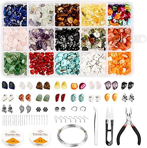 BANNESE Piedras Naturales Kits para Hacer Joyas 15 Colores Kit De Cuentas De Piedras Preciosas Irregulares, DIY Manualidades con Herramientas para Joyas Pulseras Decoraciones,Style 3