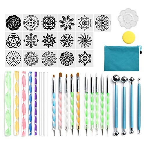 DEARLOYEA 41pcs Mandala Dotting Tools Set for Painting Rock Stencil Acrylic Stick Palette