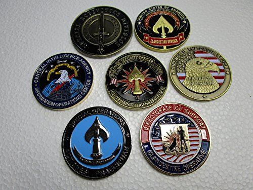 Set of 7 CIA Challenge Coins CIA SAD Special Operations Group Special Activities Division Grim Reaper CIA Seal Team VI CIA Spy vs Spy