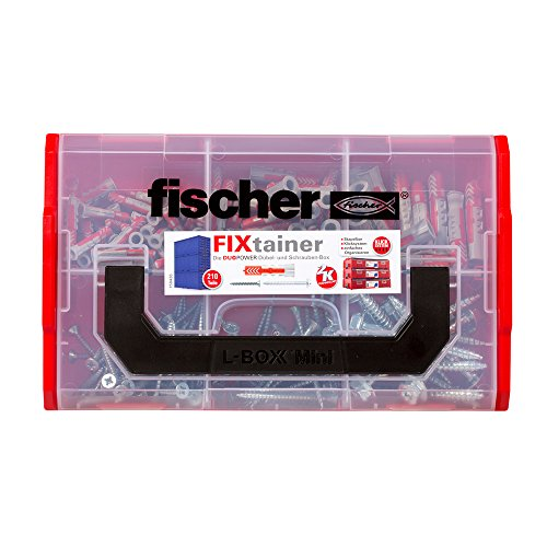 fischer FIXtainer DUOPOWER mit Schraube, Dübelbox mit 210 Schrauben & DUOPOWER Dübeln (60 Stk. 6 x 30, 30 Stk. 8 x 40, 15 Stk. 10 x 50), universelles Set zur Befestigung