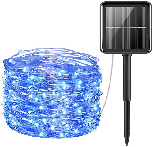 HONGLONG Solar Powered String Lights, Mini 100 LED Copper Wire Lights, Fairy Lights, Indoor Outdoor Waterproof Solar Decoration Lights for Gardens, Home, Dancing, Party, Christmas (Blue)
