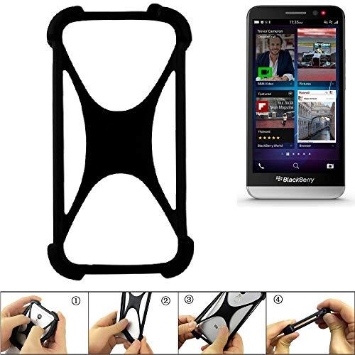 K-S-Trade® Handyhülle Für BlackBerry Z30 Schutz Hülle Silikon Bumper Cover Case Silikoncase TPU Softcase Schutzhülle Smartphone Stoßschutz, Schwarz (1x),