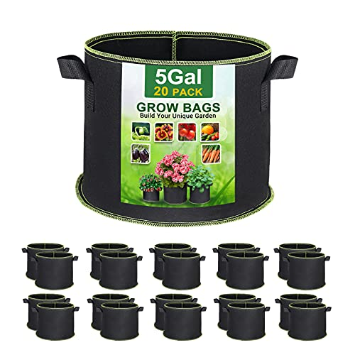 SunArea 20-Pack 5 Gallon Grow Bags, Thickened Nonwoven Aeration Fabric Pots with Reinforced Handles, Heavy Duty Plant Grow Bag for Gardening