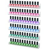 wall acrylic nail polish rack - NIUBEE 6 Pack Nail Polish Rack Wall Mounted Shelf with Removable Anti-slip End Inserts, Clear Acrylic Nail Polish Organizer Display 90 Bottles