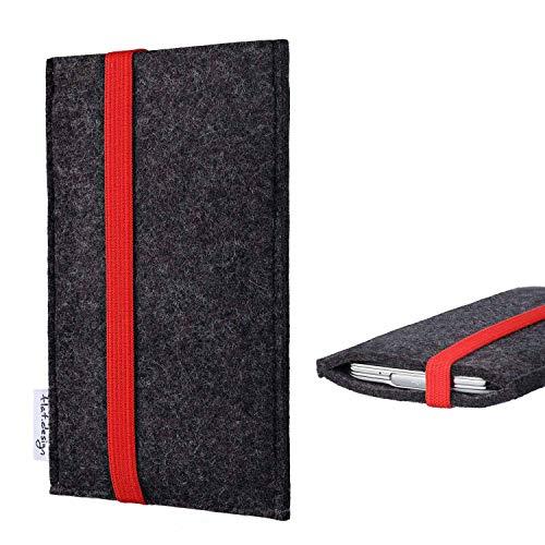 flat.design Handy Tasche Coimbra kompatibel mit BlackBerry KEY2 (Dual-SIM) passexakt Filz Schutz Hülle Hülle anthrazit rot fair
