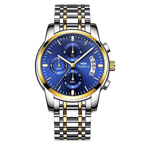 OLMECA Men's Watches Fashion Dress Wristwatches Sports Army Watches for Men 3 ATM Waterproof Fashion Dress Quartz Watches Stainless Steel Band Blue Watch 0826-JKLMgd