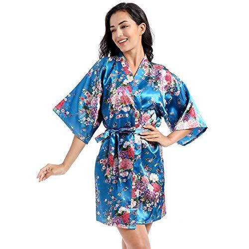 OFAY Camisón De Pijama Corto para Mujer Bata De Rebeca De Narciso De Seda Suelta Suelta Fina,H,M