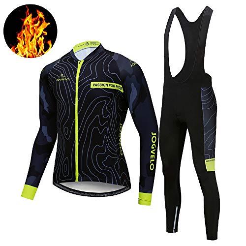 JOGVELO Maglia Ciclismo, Abbigliamento Ciclismo Set Bpdy Tuta Inverno Termico Vello MTB Gel Pad per Uomo, 2XL