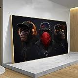 wZUN Divertido Mono Sabio botín con Auriculares Moderno Animal Fresco Lienzo Arte Cartel y Mural Impreso para decoración de Sala de Estar 60X100 CM