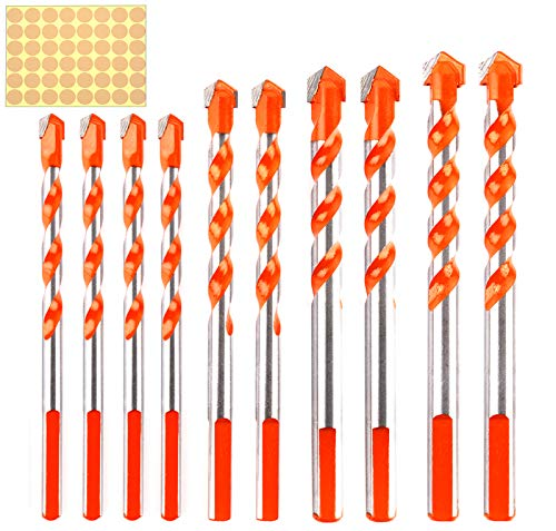 10 Pcs Carbide Drill Bits Set for Tiles Concrete Brick Wood Metal Glass Plastic(12mm/0.47in, 10mm/0.39in, 8mm/0.31in, 6mm/0.23in) Best for Bathroom Tiles and Red Bricks