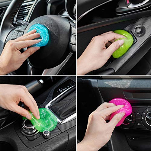 FiveJoy Car Cleaning Gels, 4-Pack Universal Auto Detailing Tools Car Interior Cleaner Putty, Dust Cleaning Mud for PC Tablet Laptop Keyboard, Air Vents, Camera, Printers, Calculator - 320g(3Ounce/pcs)