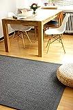 Tappeto naturale di Sisal Stone grigio antracite 160x230 cm bordo cotone 100% fibra naturale