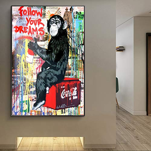 Leinwanddrucke AFFE Gekritzel Kunst Wandkunst dekorative Bild Wohnkultur Wohnzimmer Sofa Wanddekoration70x105Rahmenlose Malerei