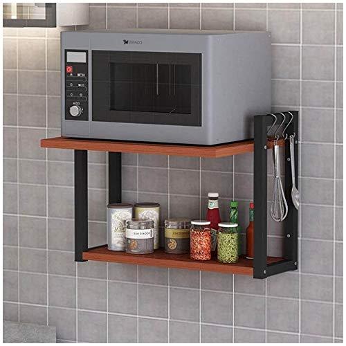 Forno a microonde Mensola Cucina microonde Grill 2 Strati di Legno Multifunzione ruggine da portaspezie in Acciaio Inox con 4hooks