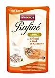 Comida para gatos animonda Rafiné Adult, comida húmeda para gatos adultos en bolsitas, ave + vacuno en salsa de queso, 12 x 100 g