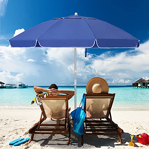MEWAY 7.5ft Beach Umbrella with Sand Anchor & Tilt Mechanism, Portable UV 50+ Protection,Outdoor Sunshade Umbrella with Carry Bag,for Garden Beach Outdoor
