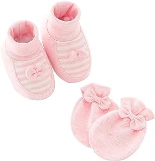 Manyo., Manyo - Juego de 2 guantes para bebé antiarañazos + calcetines antideslizantes para bebé, guantes de algodón, accesorio para bebé recién nacido, unisex, para invierno de 0 a 6 meses (rosa y mariposa)