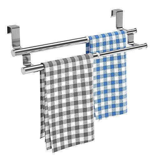 HapiRm Handtuchhalter Tür, Geschirrtuchhalter Handtuchstange Teleskop für Küche und Badezimmer,an Schublade und Schranktür Handtuchklemme ohne Bohren, Edelstahl, Doppelstange
