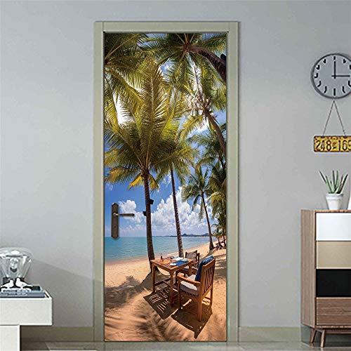 DFKJ Pegatinas de Puerta Creativas Pegatinas de decoración del hogar Pegatinas de PVC decoración de la habitación DIY Mural Impermeable A7 77x200cm