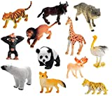Pack Contains Random 12 Animals : Lion, Tiger, Leopard, Elephant, Rhinoceros, Hippopotamus, Camel, Polar Bear, Dear, Bison etc Animals Size: 2 - 2.5 inch Made From Good Quality Material. 100% Safe For Kids Features: Animals Can Stand, Bright Color, E...