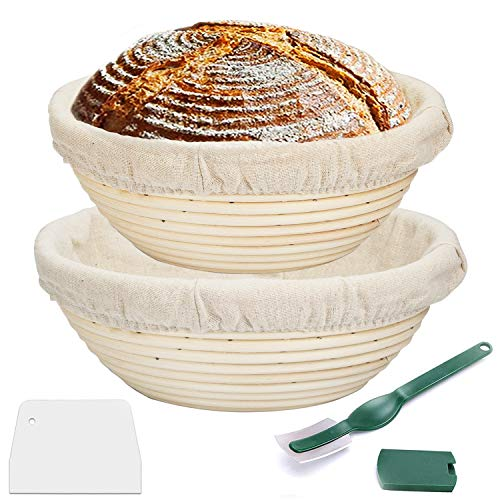 Proofing Basket 9 Inch + 10 Inch,WERTIOO Bread Proofing Basket + Bread Lame +Dough Scraper+ Linen Liner Cloth for Professional & Home Bakers (2)