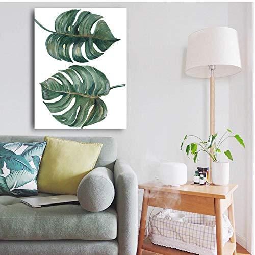 Cczxfcc Grote grootte met frame gedeelde bladeren plant muurkunst foto's voor woonkamer huis decoratie HD canvas olieverfschilderij kunstwerken 50 x 70 cm, frame.