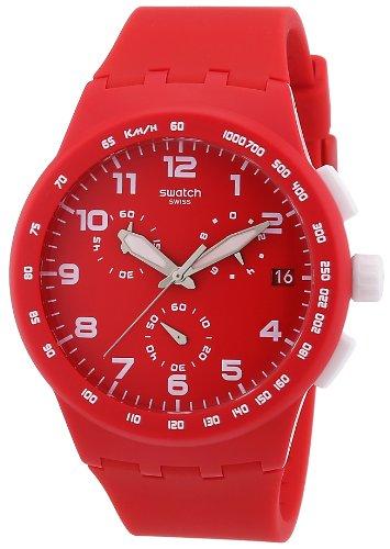 Swatch SUSR400 - Reloj cronógrafo de Cuarzo Unisex, Correa de Silicona Color Rojo