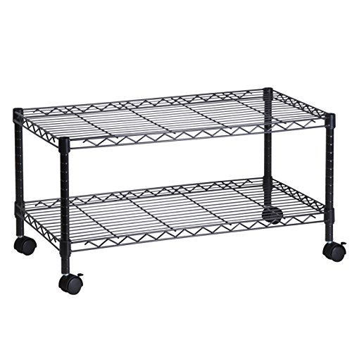 Honey-Can-Do CRT-03937 2-Shelf Rolling Media Cart with Locking Wheels, Steel Construction