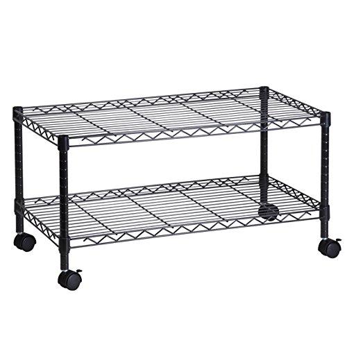Honey-Can-Do Steel Media Rolling Cart with 2 Adjustable Shelves, Black (2 Pack)