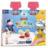 Pacual - Yogur Líquido de Fresa y Plátano Pasteurizado - Yogikids Pouch - 2 x 80 g