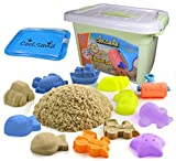 CoolSand Deluxe Bucket - Beach Edition - Set Includes: 2 Pound Moldable Indoor Play Sand, Shaping Molds, Inflatable Sandbox & Storage Bucket