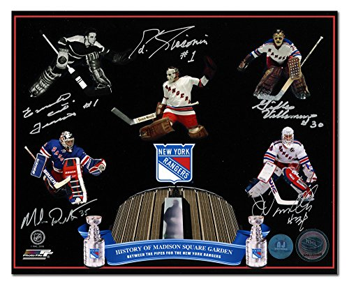 AJ Sports World NY Rangers Madison Square Gardens Autographed 5 Goalie Legends 8x10 Photo