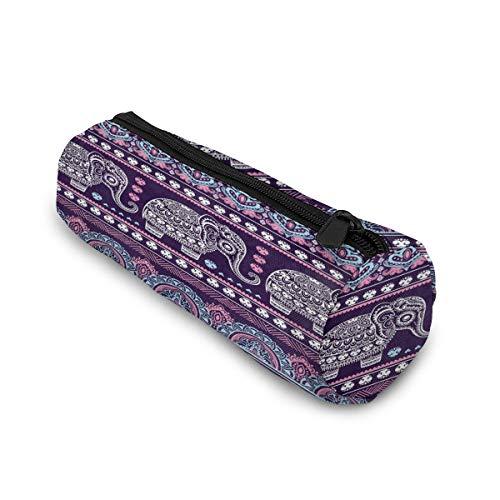 Tribal Ethnic Elephant Mandala Elephant Cylinder Pencil Case Holder Zipper Large Capacity Pen Bag Pouch Students Stationery Cosmetic Makeup Bag