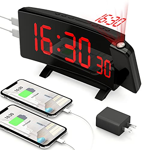 Projection Alarm Clock, PEMOTech2021 Version 7  Large LED Display & 5 Dimmer & 180° Rotation & Snooze, Digital Clock with Dual USB Phone Charger, Alarm Clock Projection on Ceiling for Bedroom